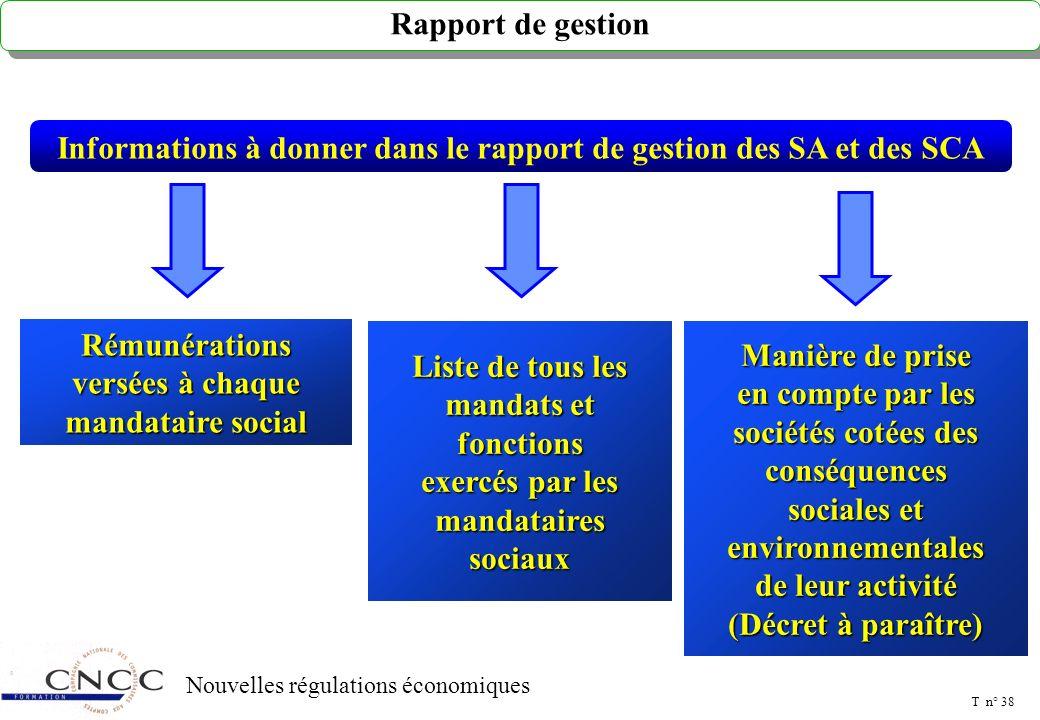 T n° 37 Nouvelles régulations économiques AUTRES DISPOSITIONS