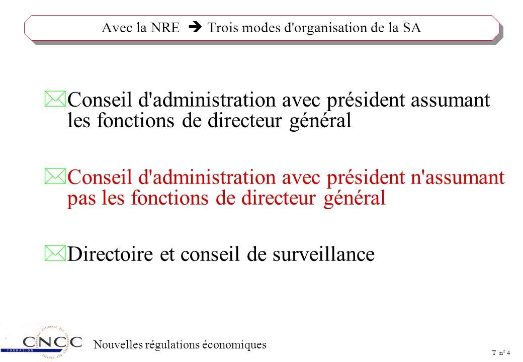 T n° 3 Nouvelles régulations économiques LE CONSEIL D'ADMINISTRATION