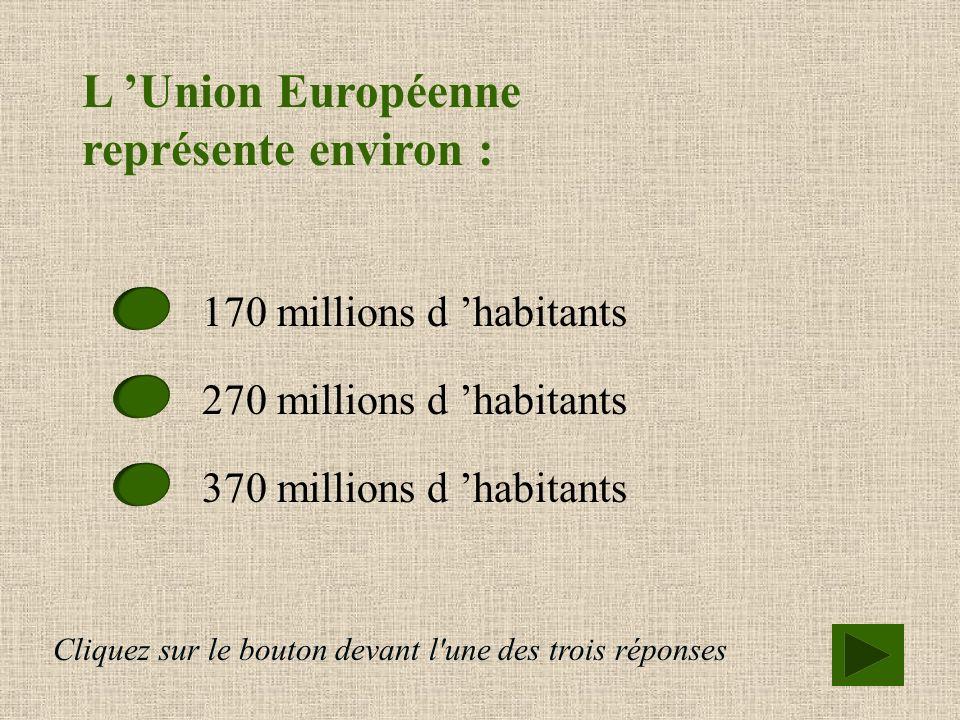 Combien de pays compte l Union Européenne ? 12 pays membres 15 pays membres 18 pays membres Cliquez sur le bouton devant l'une des trois réponses