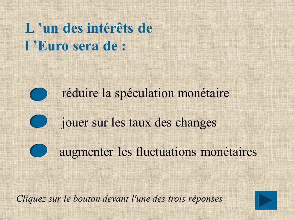 L Euro devrait également : favoriser les exportations en réduisant les aléas monétaires accroître la dépendance des entreprises européennes vis à vis