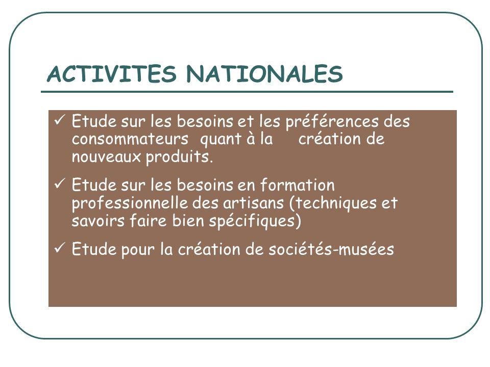 ACTIVITES NATIONALES Etude sur les besoins et les préférences des consommateurs quant à la création de nouveaux produits.
