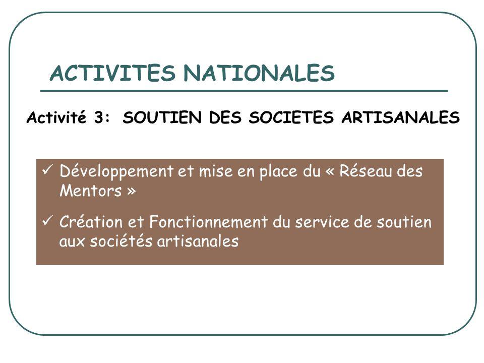 ACTIVITES NATIONALES Développement et mise en place du « Réseau des Mentors » Création et Fonctionnement du service de soutien aux sociétés artisanales Activité 3: SOUTIEN DES SOCIETES ARTISANALES