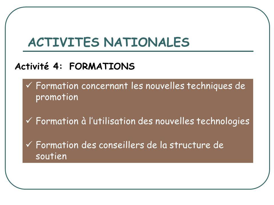 Formation concernant les nouvelles techniques de promotion Formation à lutilisation des nouvelles technologies Formation des conseillers de la structure de soutien ACTIVITES NATIONALES Activité 4:FORMATIONS