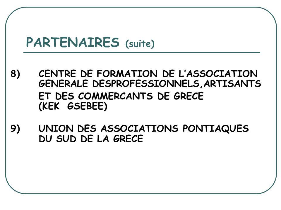 PARTENAIRES (suite) 8) CENTRE DE FORMATION DE LASSOCIATION GENERALE DESPROFESSIONNELS,ARTISANTS ET DES COMMERCANTS DE GRECE (KEK GSEBEE) 9) UNION DES ASSOCIATIONS PONTIAQUES DU SUD DE LA GRECE