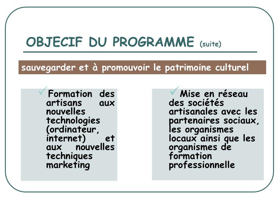 OBJECIF DU PROGRAMME (suite) Formation des artisans aux nouvelles technologies (ordinateur, internet) et aux nouvelles techniques marketing Mise en réseau des sociétés artisanales avec les partenaires sociaux, les organismes locaux ainsi que les organismes de formation professionnelle sauvegarder et à promouvoir le patrimoine culturel