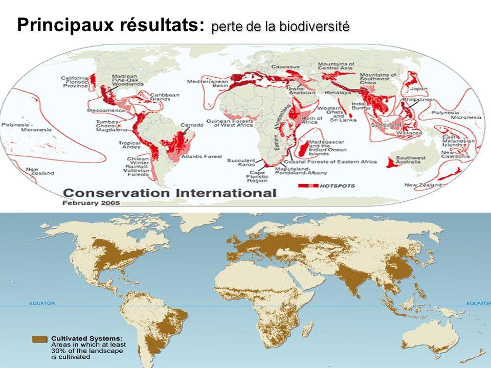 perte de la biodiversité Principaux résultats: perte de la biodiversité
