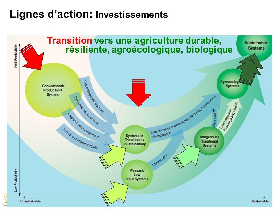 Transition vers une agriculture durable, résiliente, agroécologique, biologique Lignes daction: Investissements