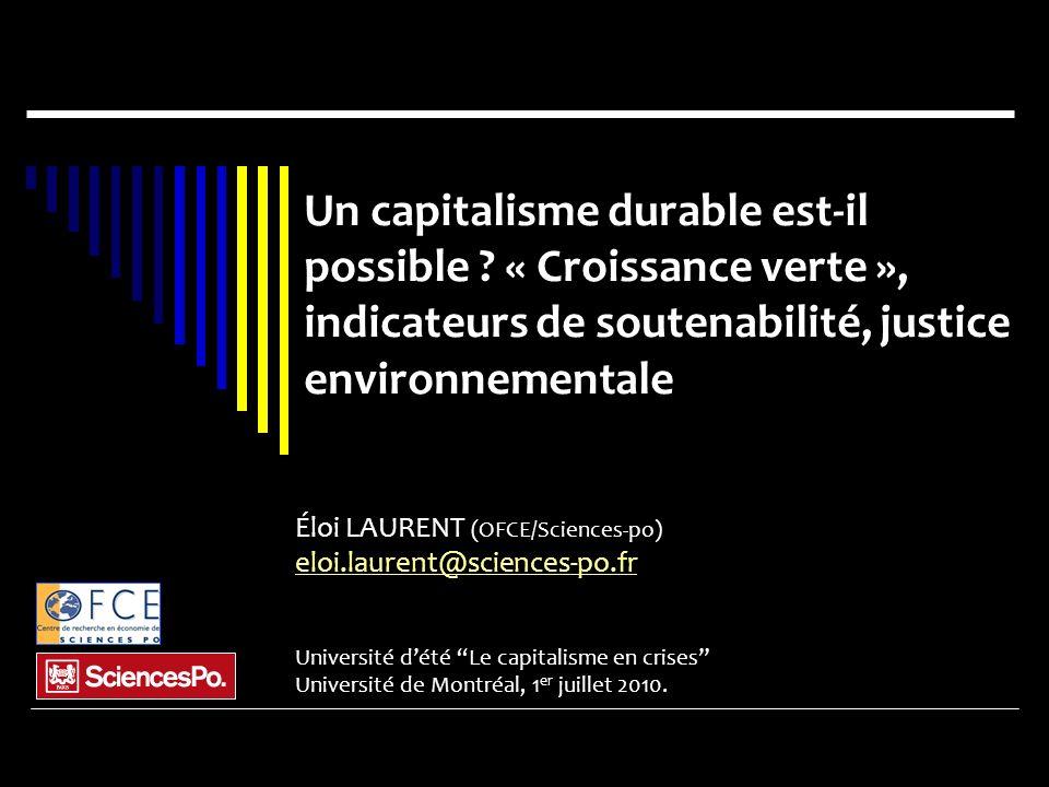 Problématiques Les trois âges de lécologie ; « Croissance verte » .