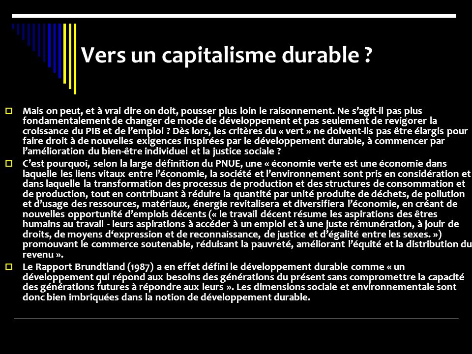 Vers un capitalisme durable .
