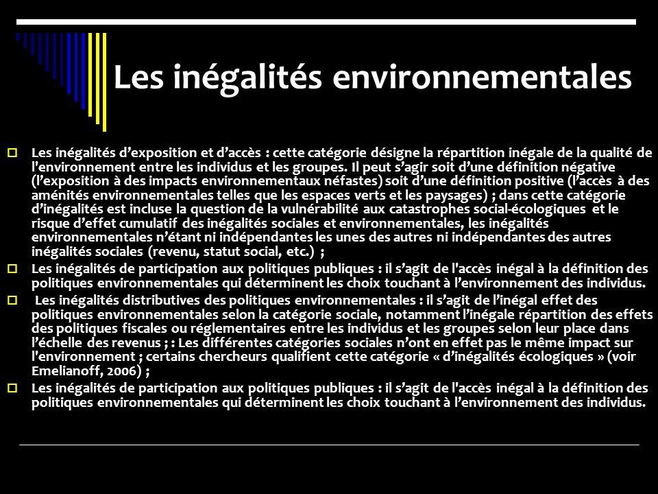 Les inégalités environnementales Les inégalités dexposition et daccès : cette catégorie désigne la répartition inégale de la qualité de l environnement entre les individus et les groupes.
