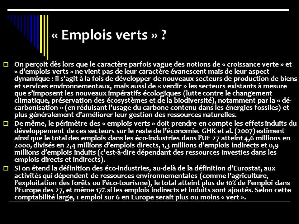 « Emplois verts » .