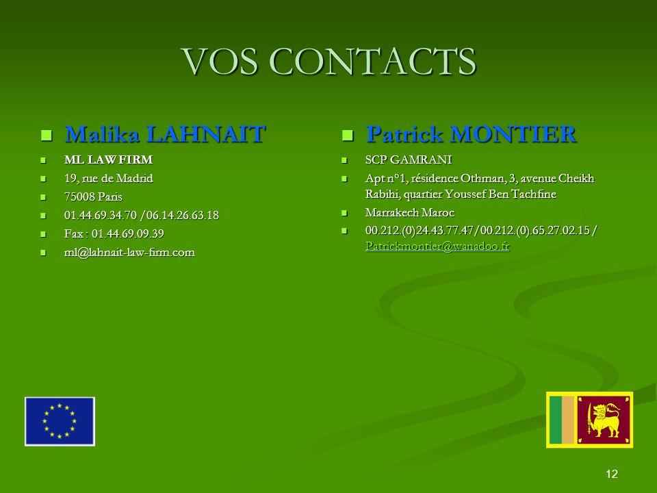 12 VOS CONTACTS Malika LAHNAIT Malika LAHNAIT ML LAW FIRM ML LAW FIRM 19, rue de Madrid 19, rue de Madrid 75008 Paris 75008 Paris 01.44.69.34.70 /06.14.26.63.18 01.44.69.34.70 /06.14.26.63.18 Fax : 01.44.69.09.39 Fax : 01.44.69.09.39 ml@lahnait-law-firm.com ml@lahnait-law-firm.com Patrick MONTIER SCP GAMRANI Apt n°1, résidence Othman, 3, avenue Cheikh Rabihi, quartier Youssef Ben Tachfine Marrakech Maroc 00.212.(0)24.43.77.47/00.212.(0).65.27.02.15 / Patrickmontier@wanadoo.fr Patrickmontier@wanadoo.fr