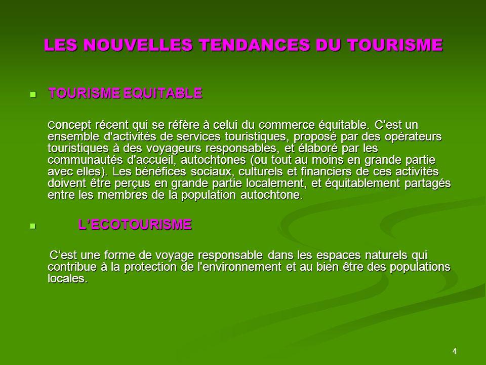 4 LES NOUVELLES TENDANCES DU TOURISME TOURISME EQUITABLE TOURISME EQUITABLE C oncept récent qui se réfère à celui du commerce équitable.