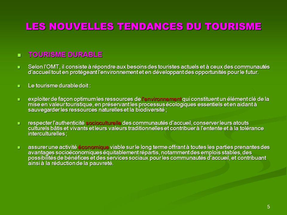 6 PRINCIPAUX CODES ET CHARTES FONDATEURS 1995 : la Charte du Tourisme Durable élaborée par plusieurs organisations internationales dont lUNESCO et lOMT.