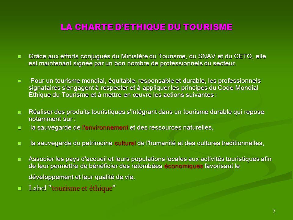 7 LA CHARTE DETHIQUE DU TOURISME Grâce aux efforts conjugués du Ministère du Tourisme, du SNAV et du CETO, elle est maintenant signée par un bon nombre de professionnels du secteur.