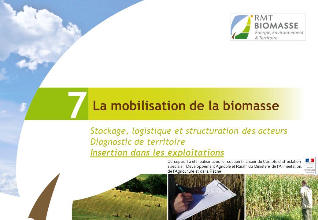 La mobilisation de la biomasse 7 Stockage, logistique et structuration des acteurs Diagnostic de territoire Insertion dans les exploitations Ce suppor