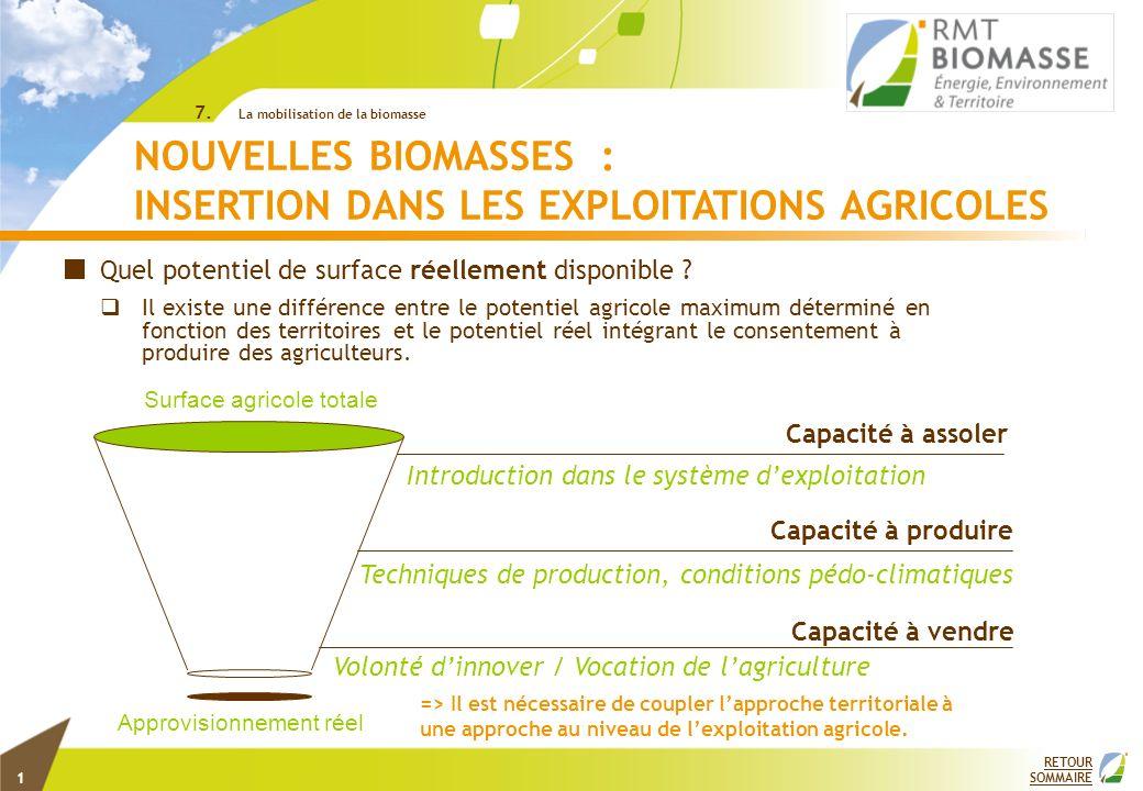 1 RETOUR SOMMAIRE 7. La mobilisation de la biomasse NOUVELLES BIOMASSES : INSERTION DANS LES EXPLOITATIONS AGRICOLES Quel potentiel de surface réellem