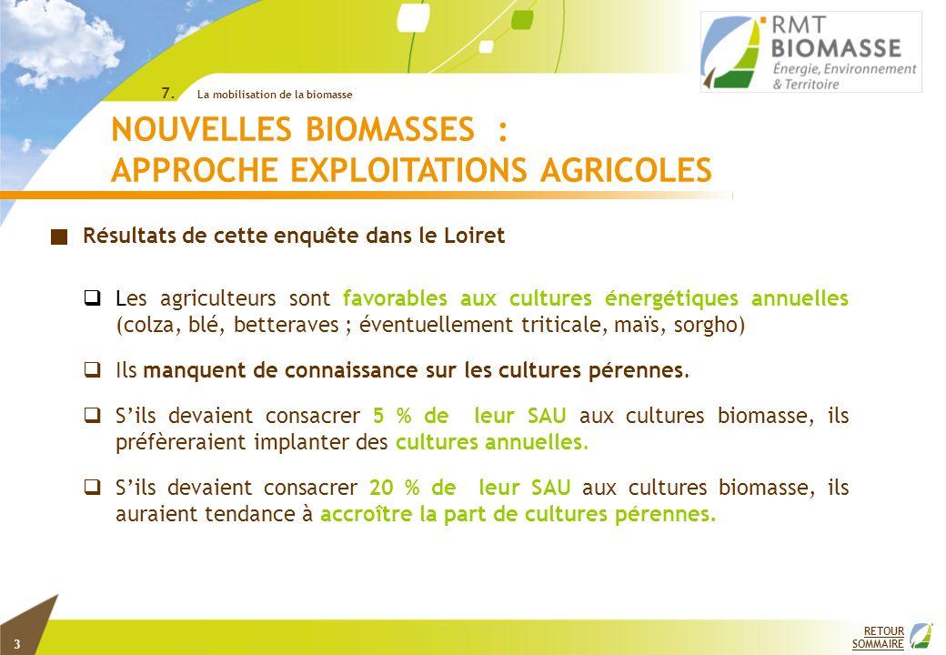 RETOUR SOMMAIRE ©INRA 7. La mobilisation de la biomasse NOUVELLES BIOMASSES : APPROCHE EXPLOITATIONS AGRICOLES Résultats de cette enquête dans le Loir