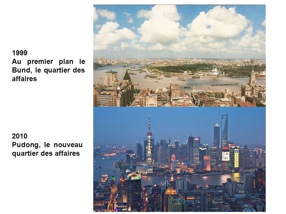 Le centre ville de Shanghai vu à laplomb de la Huang Pu river, avec son trafic de navires et péniches de tout tonnage.
