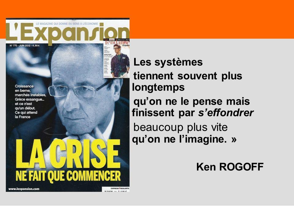 23 « Les systèmes tiennent souvent plus longtemps quon ne le pense mais finissent par seffondrer beaucoup plus vite quon ne limagine. » Ken ROGOFF