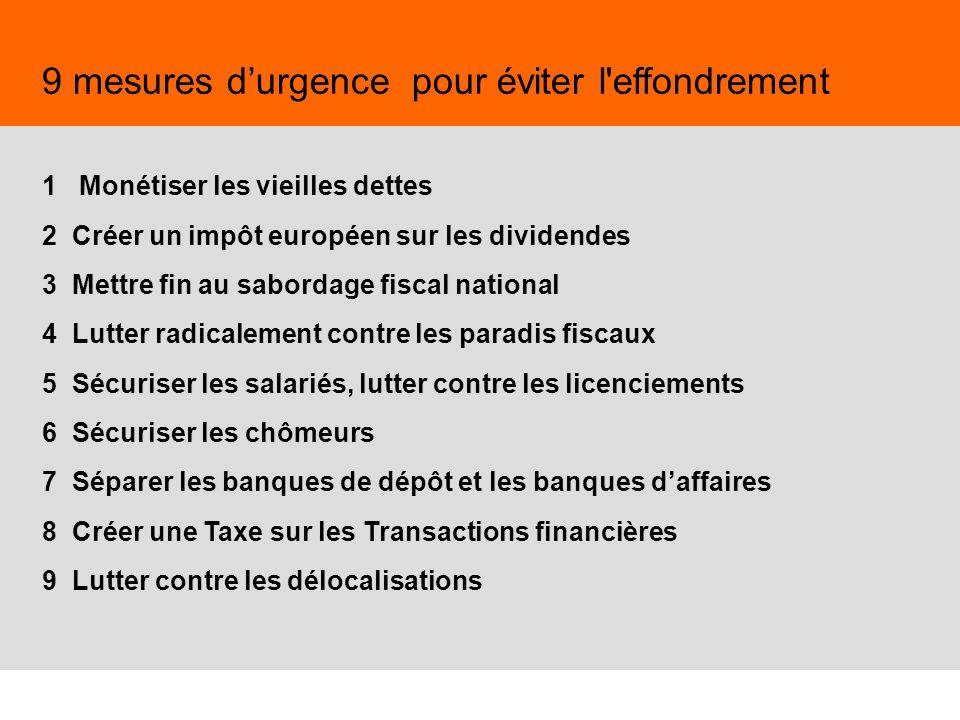 38 9 mesures durgence pour éviter l'effondrement 1 Monétiser les vieilles dettes 2 Créer un impôt européen sur les dividendes 3 Mettre fin au sabordag