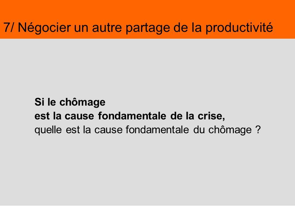 51 Juin 2009,© Nouvelle Donne, www.nouvelledonne.fr 51 7/ Négocier un autre partage de la productivité Si le chômage est la cause fondamentale de la c