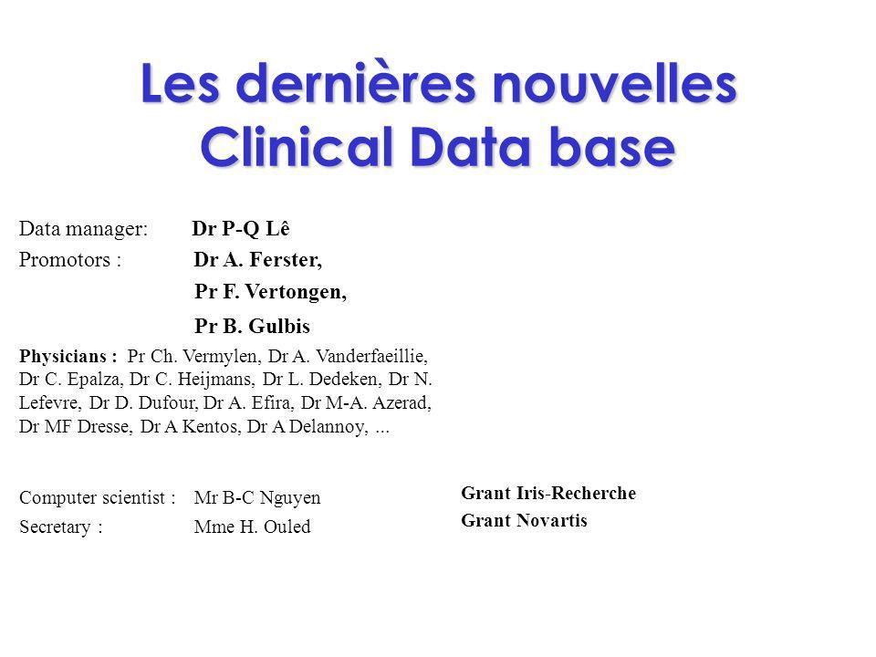 Les dernières nouvelles Clinical Data base Data manager: Dr P-Q Lê Promotors : Dr A. Ferster, Pr F. Vertongen, Pr B. Gulbis Physicians : Pr Ch. Vermyl
