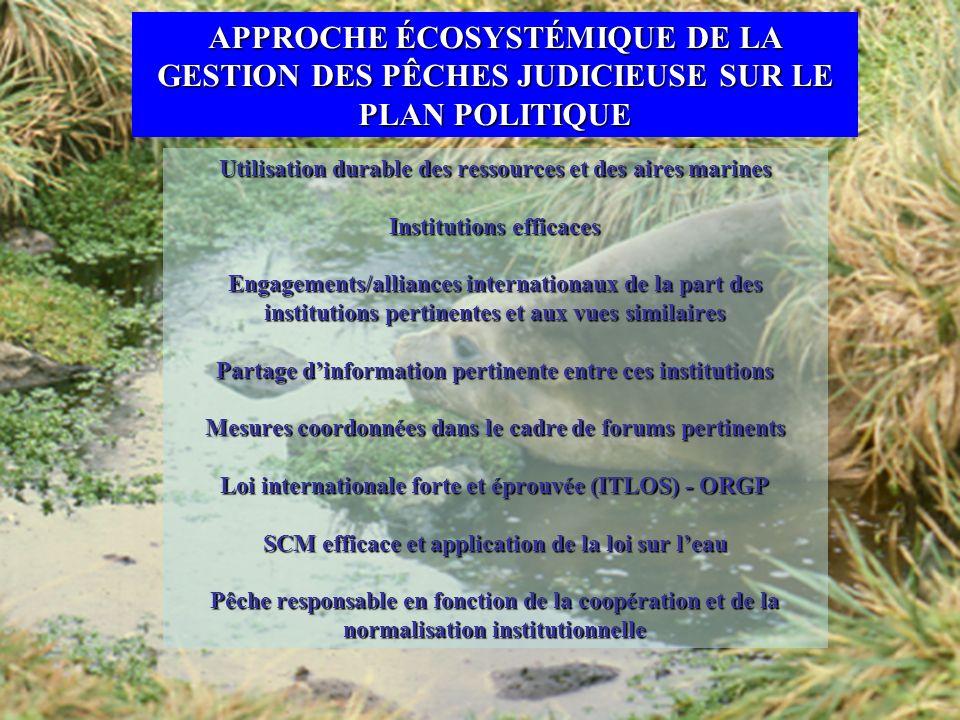Utilisation durable des ressources et des aires marines Institutions efficaces Engagements/alliances internationaux de la part des institutions pertin