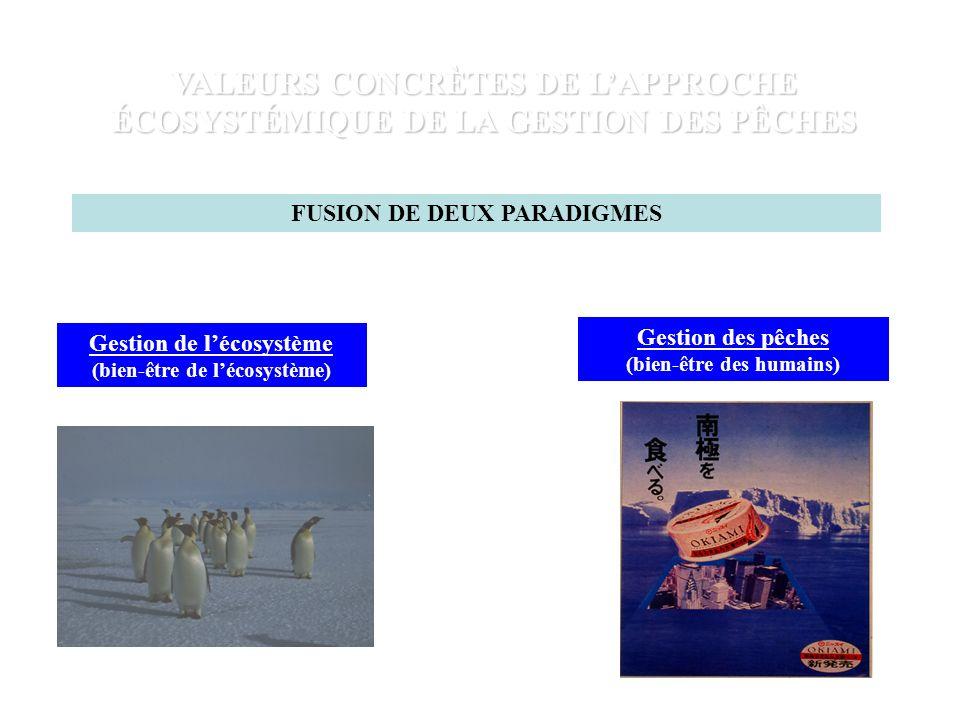 VALEURS CONCRÈTES DE LAPPROCHE ÉCOSYSTÉMIQUE DE LA GESTION DES PÊCHES FUSION DE DEUX PARADIGMES Gestion de lécosystème (bien-être de lécosystème) Gestion des pêches (bien-être des humains)