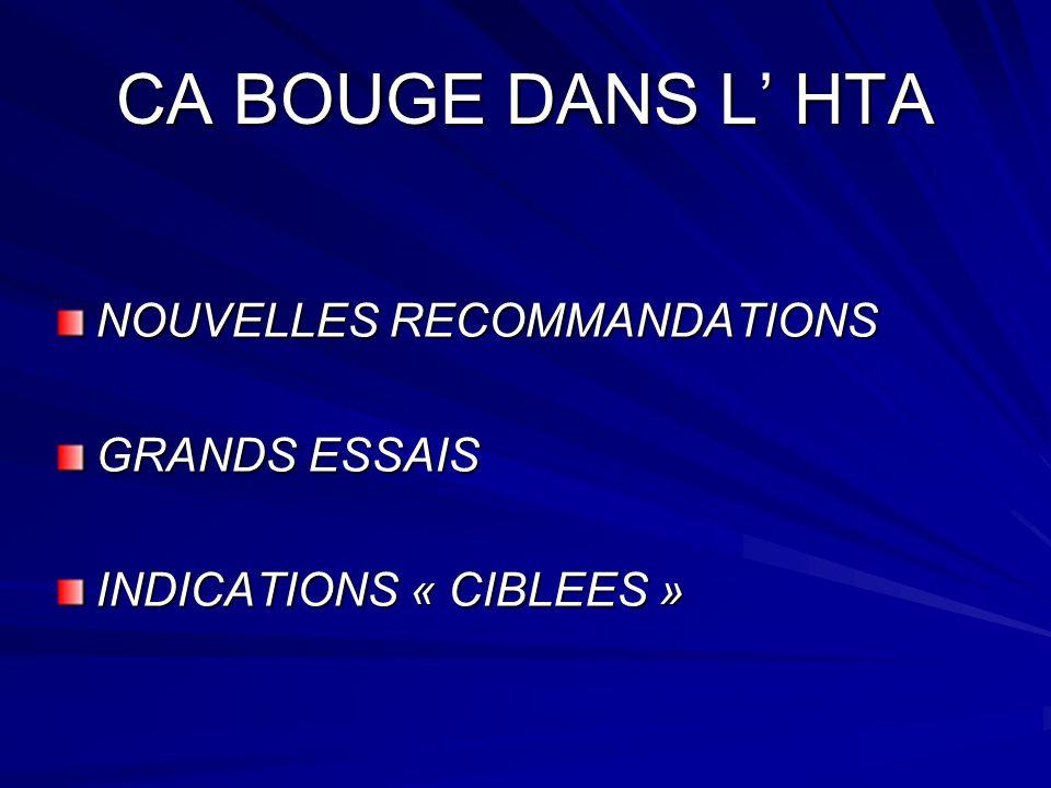 CA BOUGE DANS L HTA NOUVELLES RECOMMANDATIONS GRANDS ESSAIS INDICATIONS « CIBLEES »