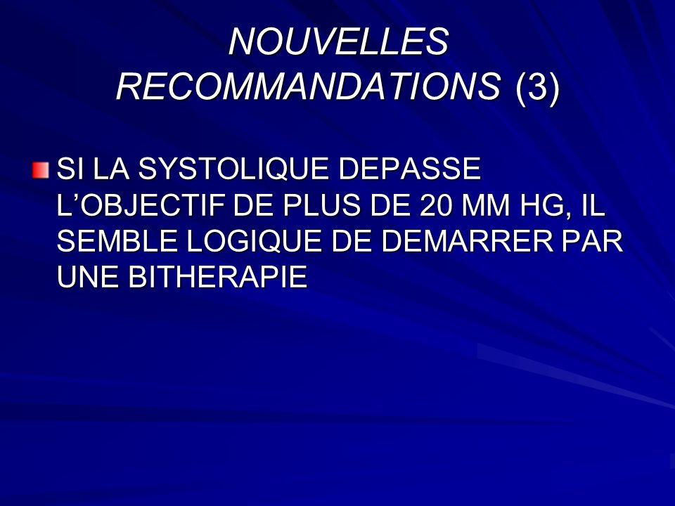 NOUVELLES RECOMMANDATIONS (3) SI LA SYSTOLIQUE DEPASSE LOBJECTIF DE PLUS DE 20 MM HG, IL SEMBLE LOGIQUE DE DEMARRER PAR UNE BITHERAPIE