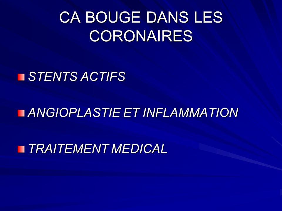 CA BOUGE DANS LES CORONAIRES STENTS ACTIFS - Recouverts dagents anti-prolifératifs - Réduisent les 2 risques thrombose aigüe resténose resténose