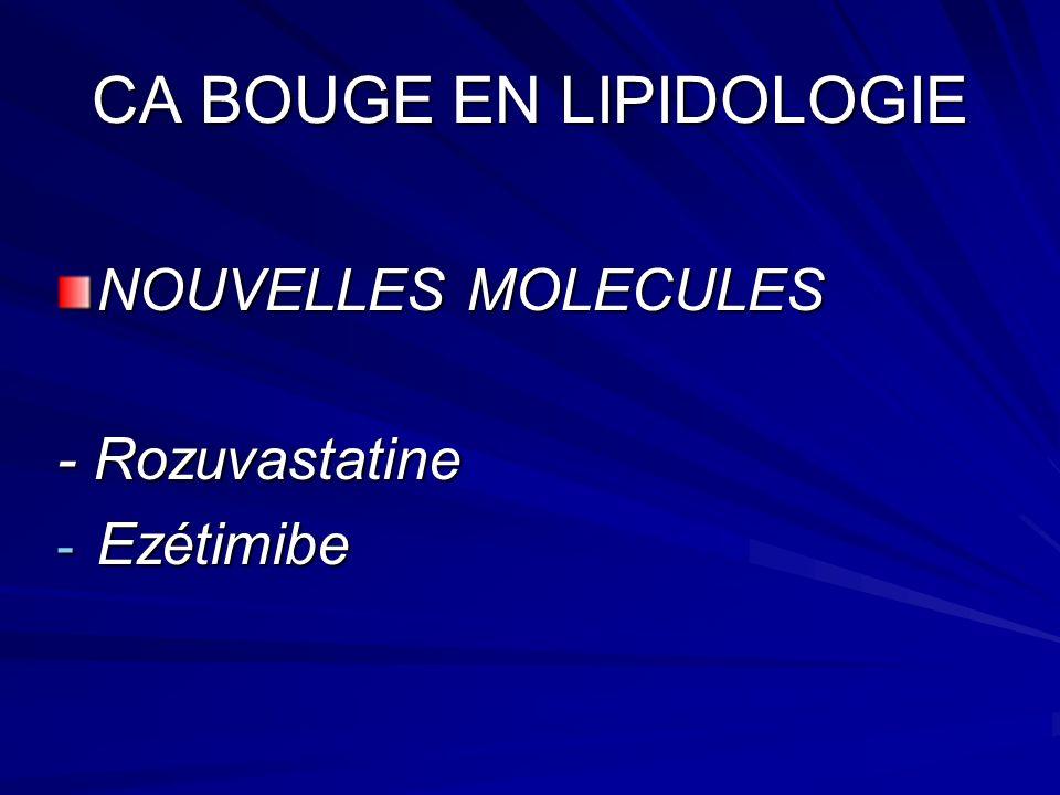 CA BOUGE EN LIPIDOLOGIE NOUVELLES MOLECULES - Rozuvastatine - Ezétimibe
