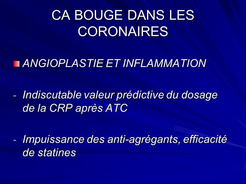 CA BOUGE DANS LES CORONAIRES ANGIOPLASTIE ET INFLAMMATION - Indiscutable valeur prédictive du dosage de la CRP après ATC - Impuissance des anti-agrégants, efficacité de statines