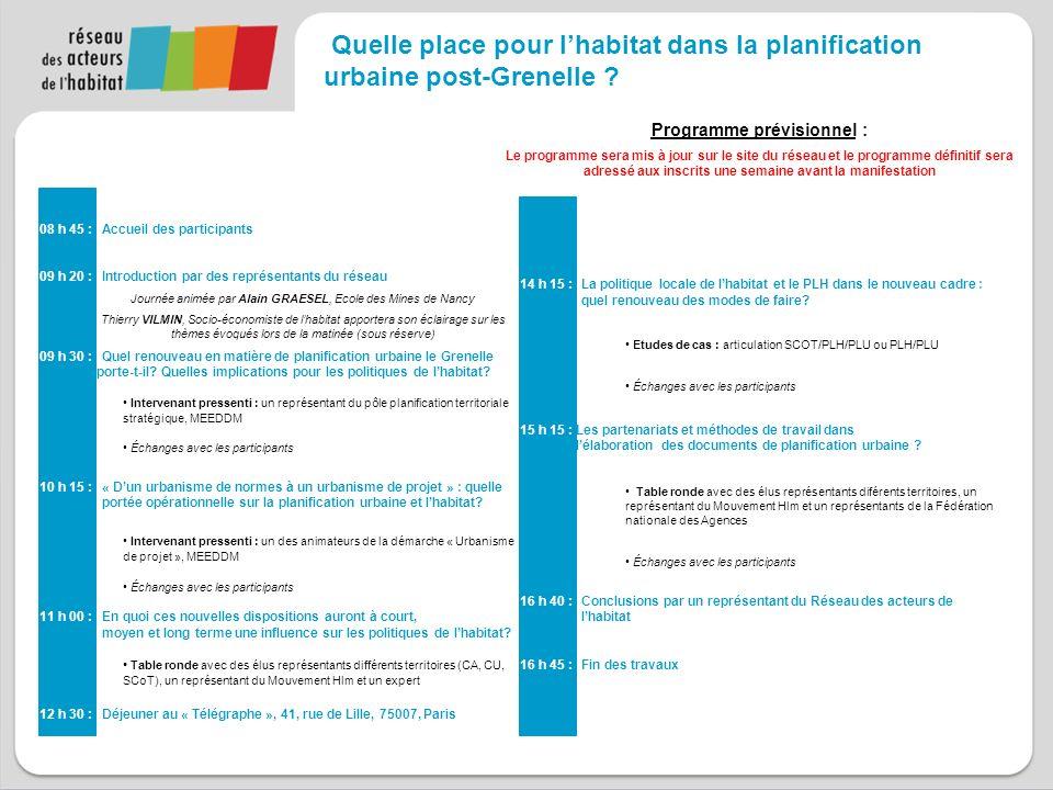 Jeudi 07 avril 2011 09h20 – 16h45 Caisse des dépôts et consignations 15 quai Anatole France 75007 Paris Quelle place pour lhabitat dans la planification urbaine post-Grenelle.