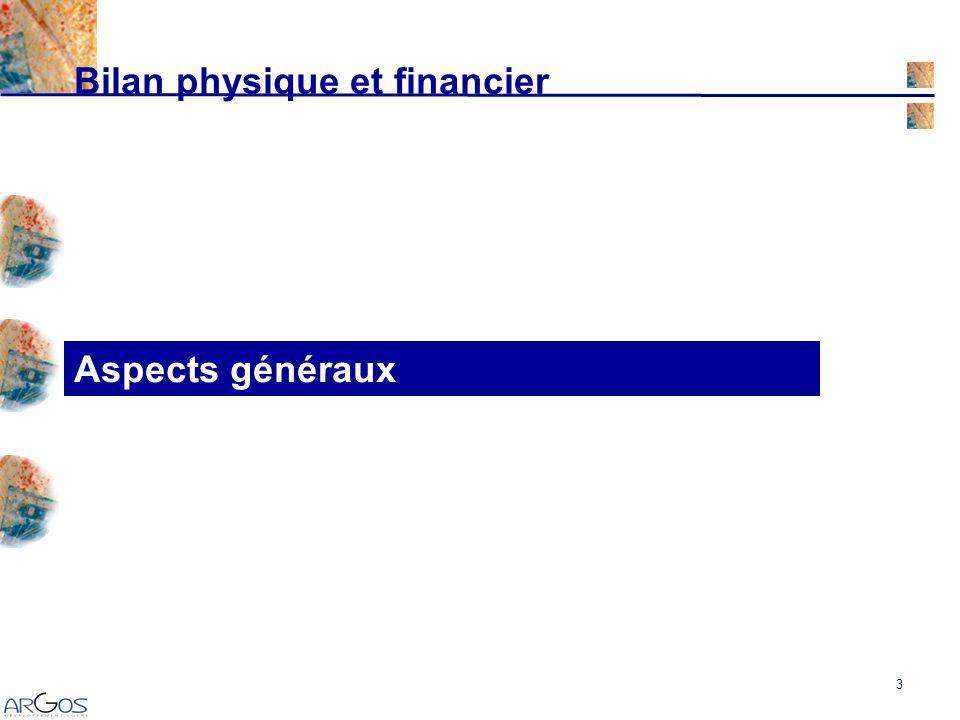 3 Aspects généraux Bilan physique et financier
