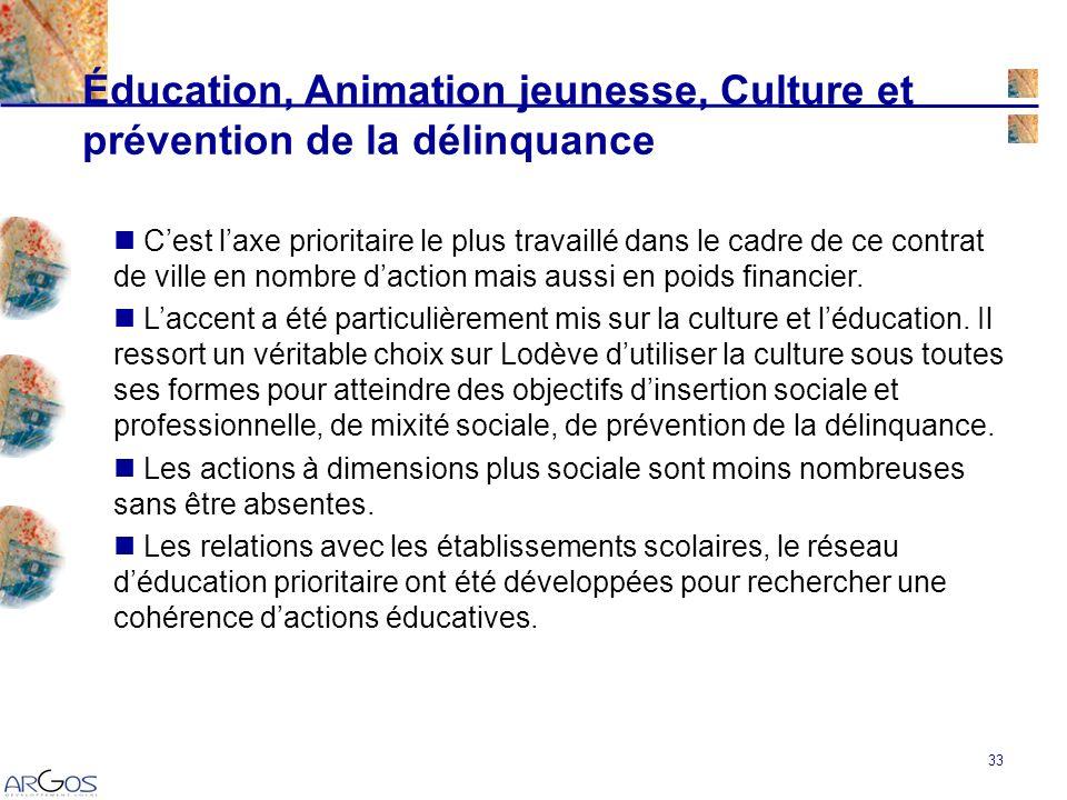 33 Éducation, Animation jeunesse, Culture et prévention de la délinquance Cest laxe prioritaire le plus travaillé dans le cadre de ce contrat de ville en nombre daction mais aussi en poids financier.