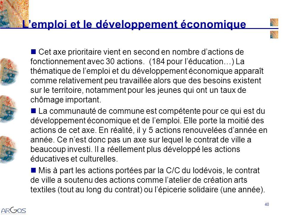 40 Lemploi et le développement économique Cet axe prioritaire vient en second en nombre dactions de fonctionnement avec 30 actions.