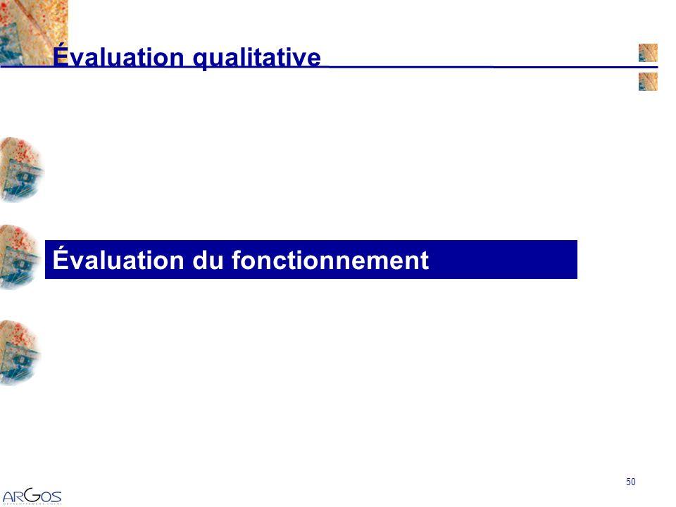 50 Évaluation du fonctionnement Évaluation qualitative
