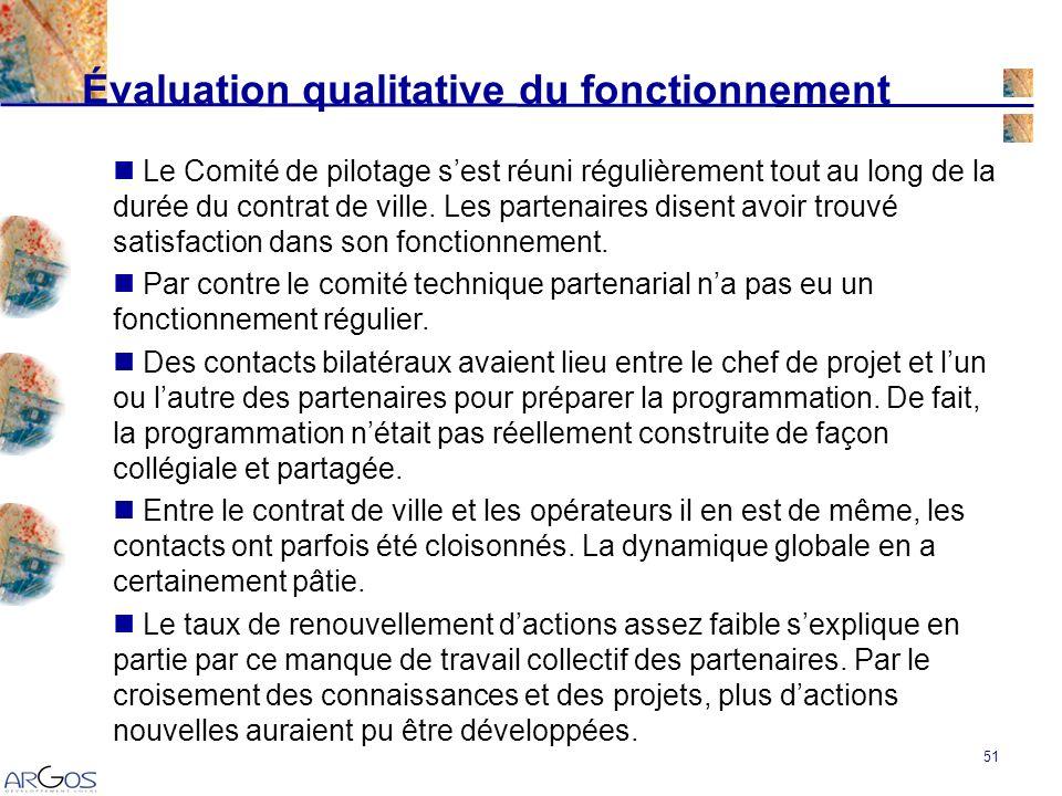 51 Évaluation qualitative du fonctionnement Le Comité de pilotage sest réuni régulièrement tout au long de la durée du contrat de ville.