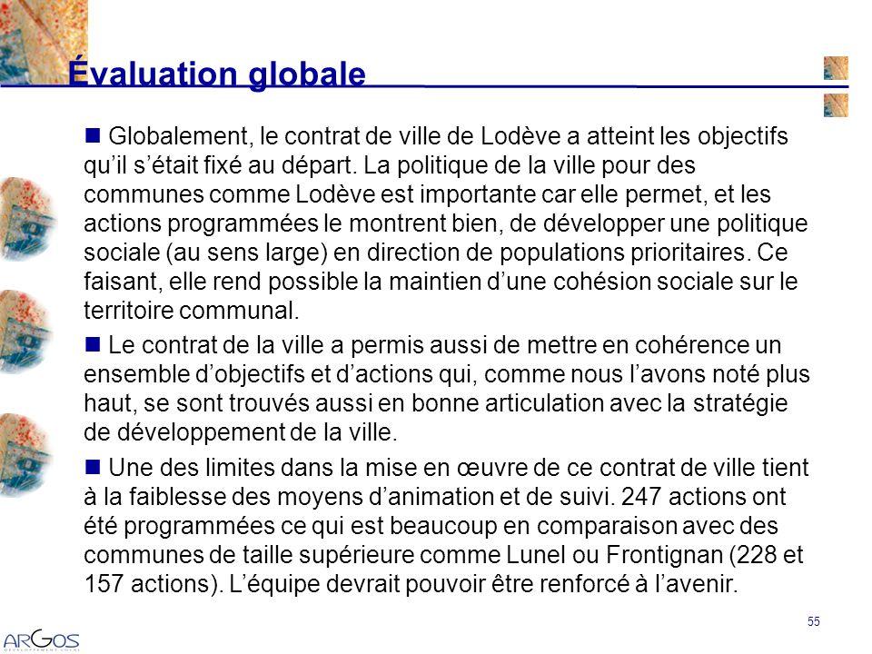 55 Évaluation globale Globalement, le contrat de ville de Lodève a atteint les objectifs quil sétait fixé au départ.