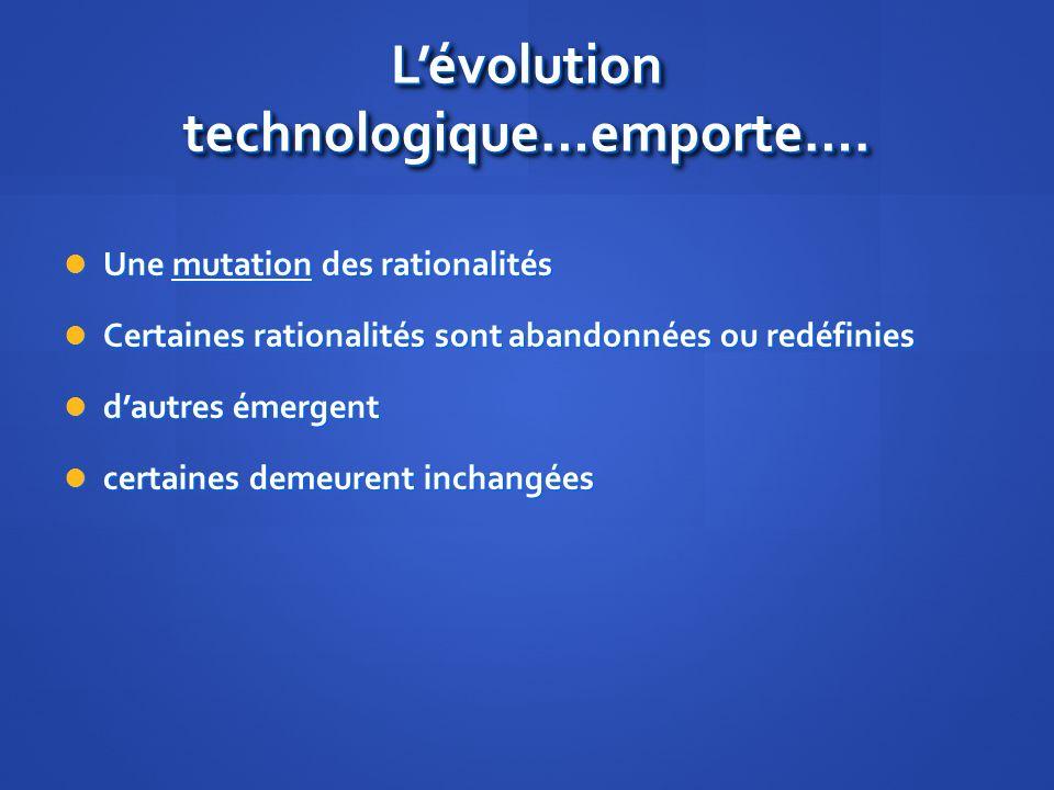 Lévolution technologique…emporte….