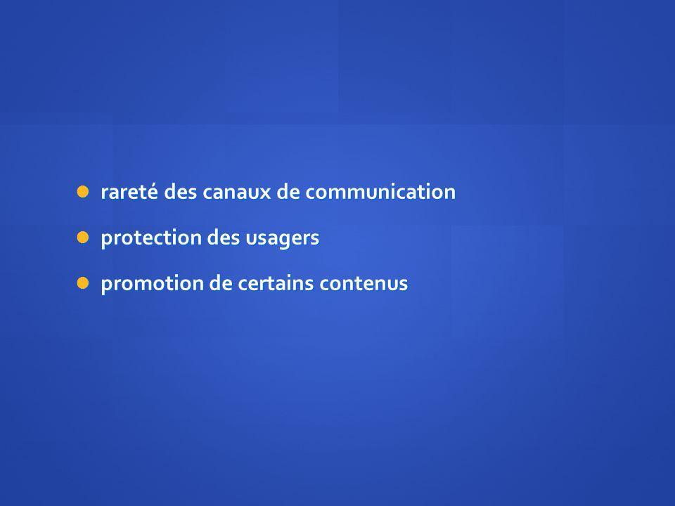 rareté des canaux de communication rareté des canaux de communication protection des usagers protection des usagers promotion de certains contenus promotion de certains contenus