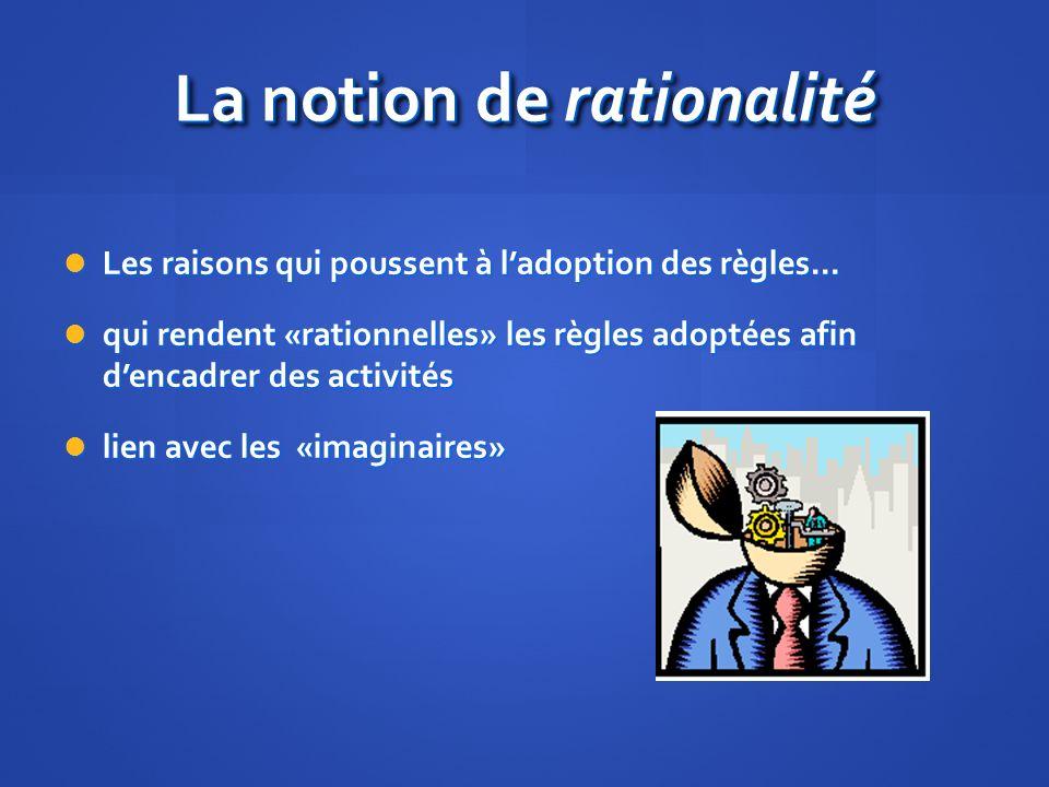 La notion de rationalité Les raisons qui poussent à ladoption des règles...