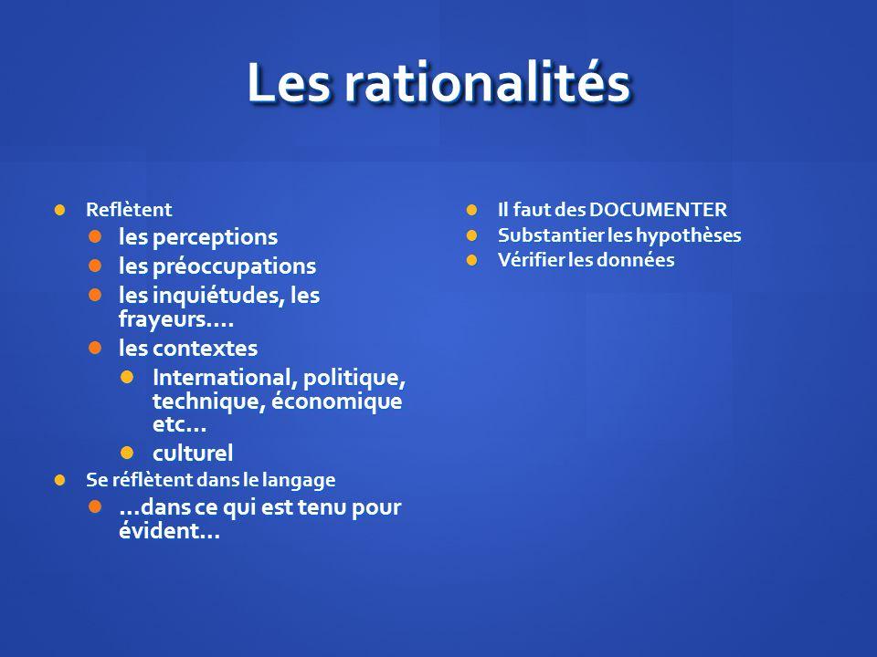 Les rationalités Reflètent Reflètent les perceptions les perceptions les préoccupations les préoccupations les inquiétudes, les frayeurs....