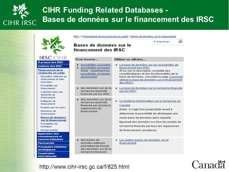 CIHR Funding Related Databases - Bases de données sur le financement des IRSC http://www.cihr-irsc.gc.ca/f/825.html