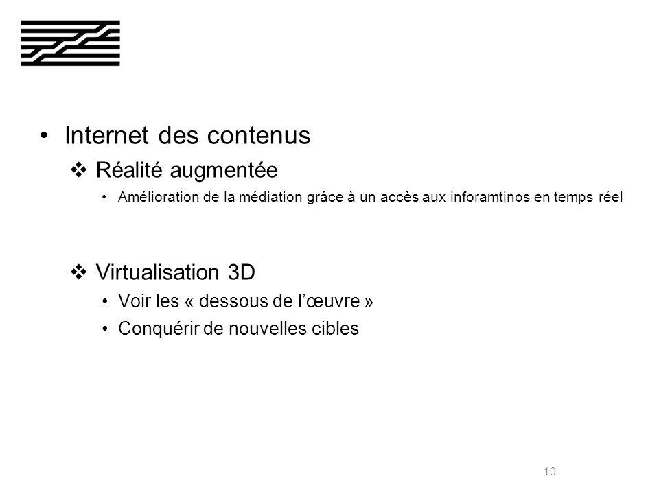 Internet des contenus Réalité augmentée Amélioration de la médiation grâce à un accès aux inforamtinos en temps réel Virtualisation 3D Voir les « dessous de lœuvre » Conquérir de nouvelles cibles 10