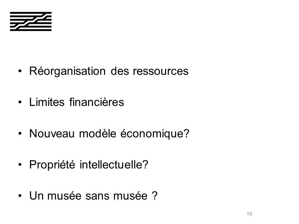 16 Réorganisation des ressources Limites financières Nouveau modèle économique.