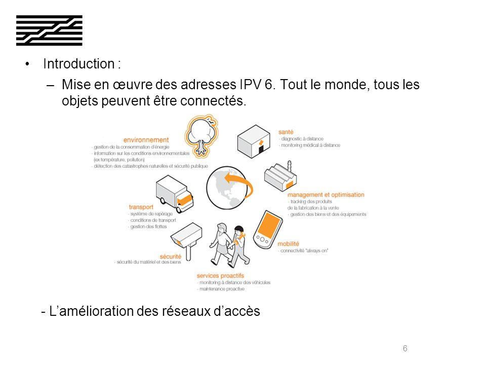 Introduction : –Mise en œuvre des adresses IPV 6.