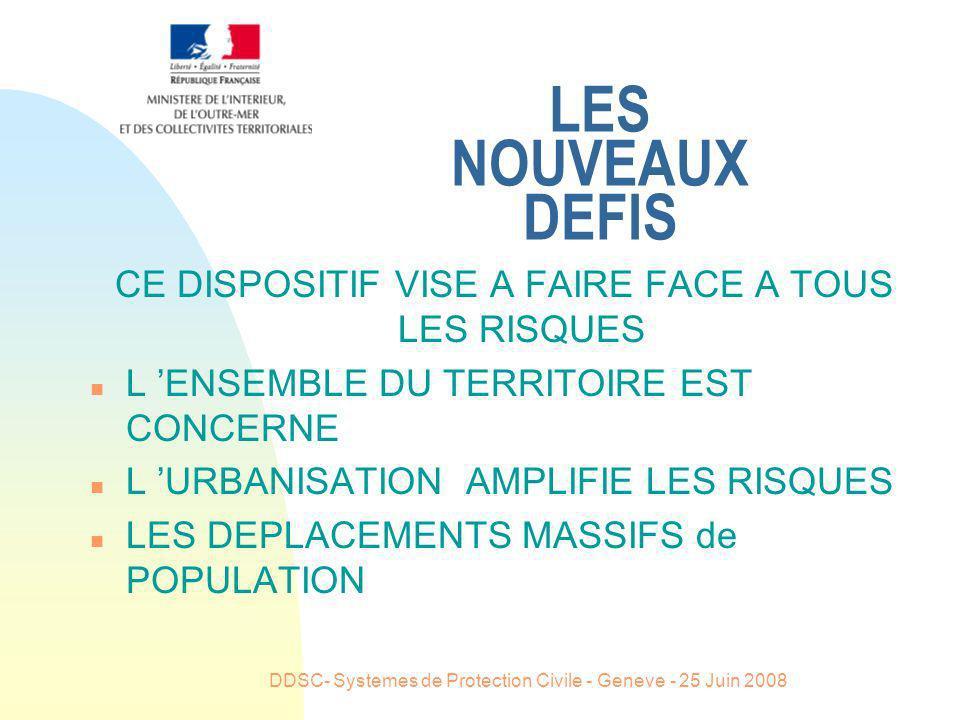 DDSC- Systemes de Protection Civile - Geneve - 25 Juin 2008 LES NOUVEAUX DEFIS CE DISPOSITIF VISE A FAIRE FACE A TOUS LES RISQUES n L ENSEMBLE DU TERR